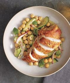 Coriander Roasted Chicken With Chickpea and Avocado Salad recipe