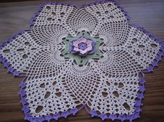Hand crocheted thread doily home fashion new ships free by DEMET, $32.00