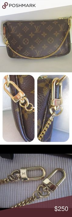 "Auth Louis Vuitton Chain Strap Ext. ( chain  only) Please note: Pochette is not included, for display only, added to show how chain can be added to a Louis Vuitton bag. Pre-owned. Very nice! Gold tone. Authentic Louis Vuitton Pochette Chain Extender Chain Strap. Attach to wallet, and bag. D-ring snaps on each end allow the chain to be used with a pochette as a strap extender, or as a chain strap. Appx: 12.5"" length end to end. Louis Vuitton box and dustbag are shown for display purposes…"