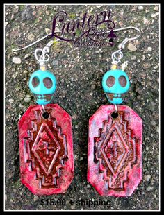 Southwest earrings in coral and turquoise