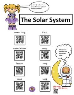 Great for centers and early finishers! IPad/iPod/tablet activities! Learn about the planets, phases of the moon, and much more with QR codes! Student tested and students loved! Exploring the Solar System using QR Codes 1st-3rd Updated 1/6/2014-If you have already purchased, please go to your purchases and download code pages again,