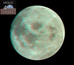Apollo 11 - Moon after TransEarth Injection  - Anaglifo realizzato in occasione del 40° anniversario del primo sbarco sulla Luna