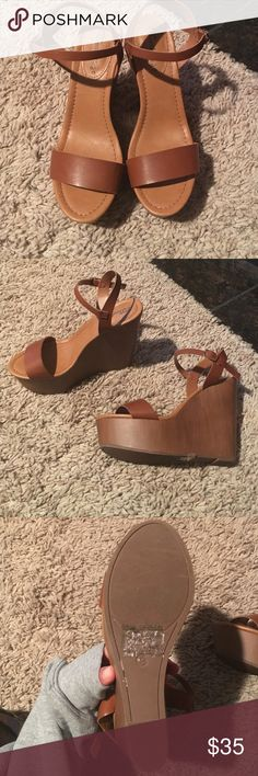 Breckelles camel/tan wedge sz.8 Breckelles camel/tan wedge sz.8 are a classic wedge that can be worn all year round with multiple outfits. These have never been worn. Breckelles Shoes Wedges