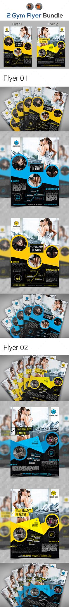 Fitness & Gym Flyers Templates Vector EPS, AI Illustrator