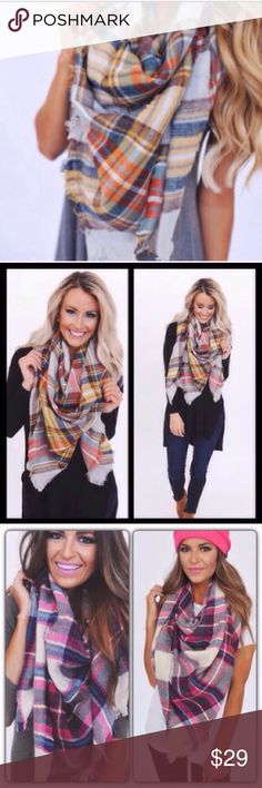 "Plaid Tartan Oversized Blanket Scarf 3 COLORS Beautiful blanket scarves. Avaialable in pink mustard or red. 100% acrylic, about 55x55"". Accessories Scarves & Wraps"