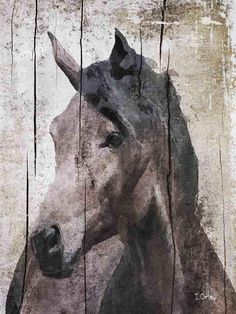 Horse LeMuse. Extra Large Rustic Wood Horse Canvas by irenaorlov