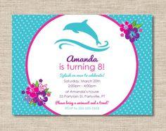 Personalized dolphin birthday party invitations, diy printable dolphin birthday cards. $15.00, via Etsy.