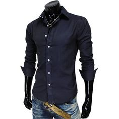 Mens Casual Pin Stripe Fitted Shirts