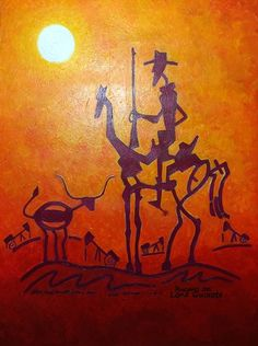 Lone Quixote in Maroon by Ponciano | #LoneQuixote #art #tamu #expressionism #texas #DonQuixote #longhorn #painting #atx #austin #smtx #txst #12thMan #quixote