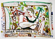 Under Surveillance water colour & pencil on paper, 297 x Oldenburg, Art School, Claws, Colored Pencils, Printmaking, Journal, Watercolor, Artists, Colour