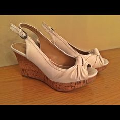 White Slingback Wedges Cute white slingback wedges! Gently used. Great condition. Open to all offers. ;) Shoes