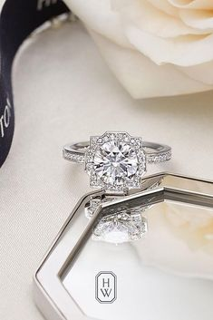 18 Gorgeous Harry Winston Engagement Rings ❤️ harry winston engagement rings white gold pave band halo ❤️ More on the blog: https://ohsoperfectproposal.com/harry-winston-engagement-rings/