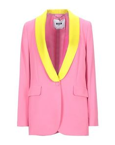 Crepe No appliqués Two-tone Lapel collar Long sleeves Single-breasted  Multipockets 1 button Fully lined Suit Jackets For Women, Suits For Women, Couleur Fuchsia, Jackett, Msgm, Blazer, Products, Fashion, Bicolor Cat