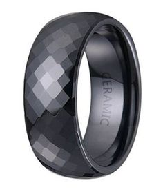 mens black ceramic wedding ring with domed profile and faceted glossy finish 75mm - Wood Wedding Rings For Men