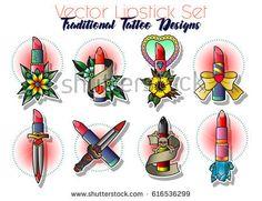 Vector Lipstick Set Tattoo Art Stylized