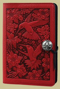 """Stunning hand tooled leather journal covers by Oberon Design. """"Hummingbird Small Journal"""""""