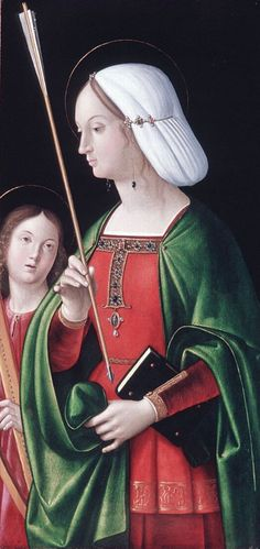 Short overdress? (If I can document this I would like to make a gown this way). Around 1495 Venice. Andrea Solario's St Ursula