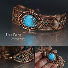 Weaving with copper is such a joy, it is so smooth and easy on the hands.  This bracelet has a turquoise focal, glass seed beads accents and gallery wire framing wires for texture.  --Lisa Barth