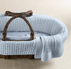 RH Baby & Child's Cable Knit Moses Basket Bedding & Espresso Basket Set:As soft and plush as the classic sweater, our pure cotton bedding creates a cozy, comfortable nest for your baby. Baby Girl Bassinet, Baby Bouncer, Baby Boy, Rh Baby, Baby Comforter, Cotton Bedding, Moses Basket Bedding, Baby Moses, Restoration Hardware Baby