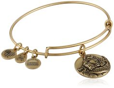 "Alex and Ani Laughing Buddha Expandable Rafaelian Gold Bangle Bracelet. Expandable wire bangle bracelet featuring round charm with raised Buddha design and three smaller charms. Expandable from 2""-3.5"" in diameter. Made in the USA."