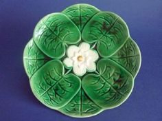 Large Adams and Bromley Majolica 'Water Lily' Plate c1880