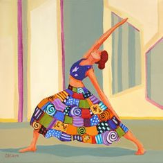 """Contemporary Artists of Oregon: """"Sun Warrior,"""" contemporary figure painting of woman doing a yoga pose, by Carolee Clark, Philomath, Oregon ..."""