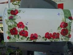 handpainted mailbox RED POPPIES  cottage chic.