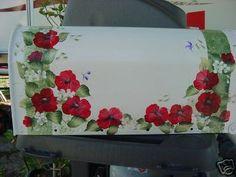 handpainted mailbox RED POPPIES  cottage chic.