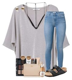 """""""ooo we're beach bound!!"""" by mallorykennerly ❤ liked on Polyvore featuring MANGO, Dion Lee, 7 For All Mankind, Birkenstock, Better Late Than Never, NARS Cosmetics, Christian Dior, philosophy, Burt's Bees and Kate Spade"""
