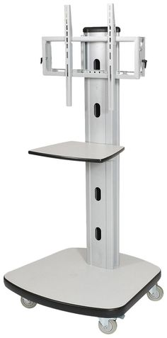 """Balt Mobile LCD Stand with Casters, 30-1/2-Inch by 29-1/2-Inch by 66-1/2-Inch, Gray. Mobile Plasma/LCD Stand is sold in two parts. One part includes a wooden base, middle shelf, metal assembly brackets and assembly hardware. The other part includes the vertical metal pedestal, Plasma/LCD mount and assembly hardware. Screen tilting mechanism allows you to tilt screen up to 3 degrees. Equipment, such as a DVD player, can be stored on 18"""" wide x 14"""" deep audiovisual shelf."""