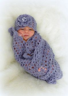 Crochet Baby Blanket & Mohair Lace Wrap and Hat. ♥️ This is a sweet and softly textured baby set. The wrap is smaller and intended for a photo shoot and the blanket is a nice size for a stroller or car seat. The mohair lace yarn makes this a charming and classic set. It is a very easy (advanced beginner) pattern and it works up fast. The set would be a welcome gift for a baby shower or expectant mother. I hope you enjoy making this! by DeborahOLearyPatterns