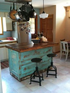 Forever Interiors Large Kitchen Island With Cabinets And Drawers Made Entirely From Reclaimed