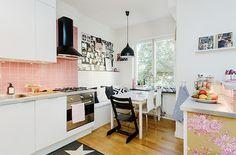 Apartamento de 65m²: azulejos cor de rosa - Casinha Arrumada