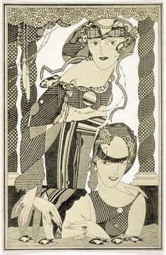 Illustration of two women by Julius Klinger, ca. 1925.