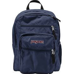 """JanSport Big Student Backpack - 17.5"""" - Navy - School Backpacks (31.080 CLP) ❤ liked on Polyvore featuring bags, backpacks, accessories, accessories - bags, blue, navy blue backpack, jansport backpack, laptop pocket backpack, padded backpack and navy backpack"""