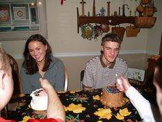 Daughter Julia, Nephew Brad celebrated their birthdays with the extended families, note no candles, so lighters instead
