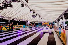 Getting ready to Rock n Roll. This roller disco party set in one of our clear span frame marquees was a triumph. Great fun had by all! Roller Disco, Disco Party, Family Events, Rock N Roll, Environment, Fair Grounds, Frame, Fun, Wedding