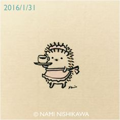 by nami nishikawa Hedgehog Art, Hedgehog Drawing, Baby Hedgehog, Hedgehog Tattoo, Hedgehog Illustration, Cute Illustration, Cartoon Drawings, Easy Drawings, Dibujos Cute