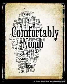 Comfortably Numb - Pink Floyd Word Art - 8x10 Word Cloud Art Print - Gift Idea