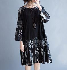 Women Black Loose Fitting dress Round neck long dress by MaLieb