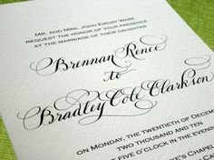 Traditional Calligraphy wedding invite from DesignsByRobynLove on etsy