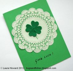 Bugs and Fishes by Lupin: DIY Lucky Four-leaf Clover Card