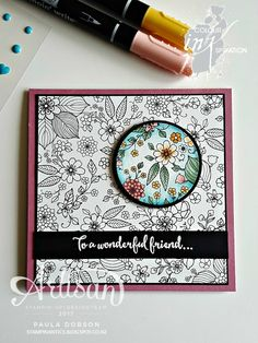 Paula Dobson - Stampinantics: WONDERFUL FRIEND - COLOUR INKSPIRATION #CI001. Using Inside The Lines SAB Designer Paper and Dragonfly Dreams. CLick on the picture to see more of Paula's projects. #pauladobson #stampinantics #colourinkspiration #insidethelines #dragonflydreams