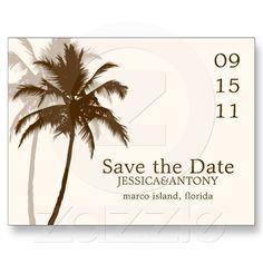 Palm Trees Tropical Wedding Save the Date Postcard