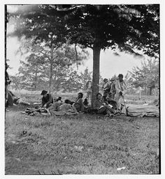 Wounded Indians after the battle of the Wilderness at Marye's Heights in Fredericksburg, Virginia on May 1864. #civilwar