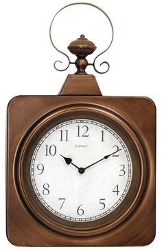 Square Metal Wall Clock in Antique Brass Finish. $99  #homedecor #applcenter #clock #stylecraft #Maumee #Ohio