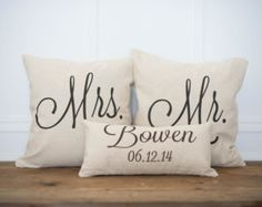 mr. & mrs. custom pillow with wedding date on Etsy, a global handmade and vintage marketplace.