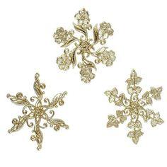 Glittering Gold Snowflake Ornaments 4.5  Price : $12.95 http://www.perfectlyfestive.com/RAZ-Imports-Glittering-Snowflake-Ornaments/dp/B00CXHKJAE