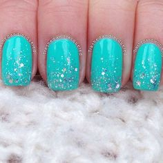 Super Cute Blue Nails With a Hint Of Sparkle. #blue #sparkle #polish