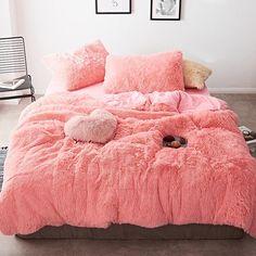 Fluffy Velvet Fleece Quilt Cover Bed Set (4/6/7 pcs) - Peach Pink